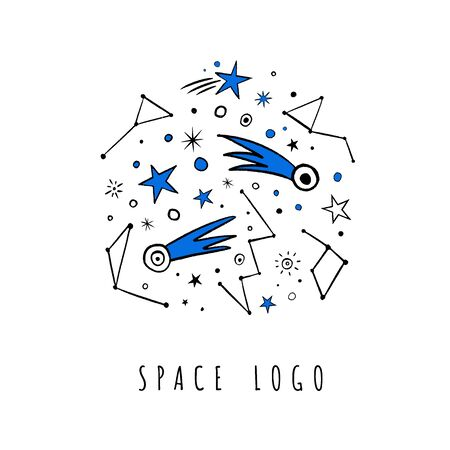 T-shirt, pictures for children interior, pajamas. Vector doodle set of stars, comets, zodiac. Isolated objects