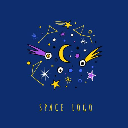 Baby, clothes, banner, card design, t-shirt, Multicolour doodle set of stars, comets, zodiac Ilustrace