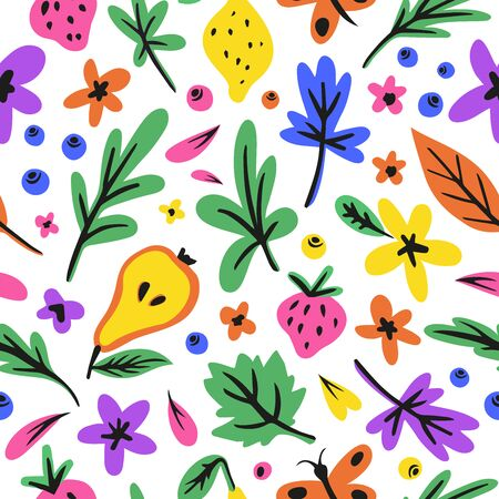 Flowers, butterfly, different leafs. Vector color holidays cliparts. Textile, print for summer clothes, background vector