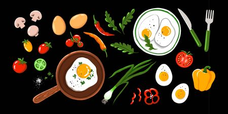 On white background, top view. Design for breakfast menu, cafe, restaurant. Fast food background Фото со стока
