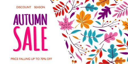 Autumn Sale Banner Abstract Illustration Background with Falling Autumn Leaves. Vector discount text for shop poster or leaflet