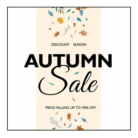 Hello Autumn Sale text poster of leaf fall or autumnal foliage of maple, oak acorn and elm for shopping sale design or promo poster and frame leaflet or web banner Ilustrace