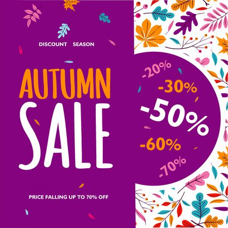 Autumn sale banner on maple leaf foliage pattern background for autumnal shopping promo 70% design. Vector November oak acorn and discount text for shop poster or leaflet