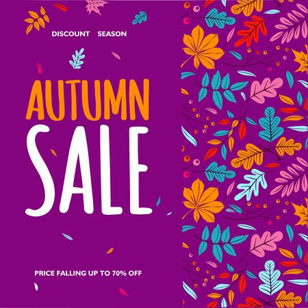 Autumn Sale text poster of leaf fall or autumnal foliage of maple, oak acorn and elm for shopping sale design or promo poster and leaf pattern background Иллюстрация