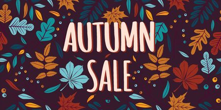 Autumn sale banner with leaves. Can be used for shopping sale, promo poster, banner, flyer, invitation, website or greeting card. Vector illustration 向量圖像