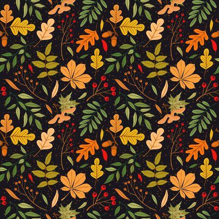 Vektor nahtlose Muster von Herbstlaub, Zweigen und Beeren. Hintergrund für Textil- oder Bucheinbände, Herstellung, Tapeten, Druck, Geschenkpapier und Scrapbooking