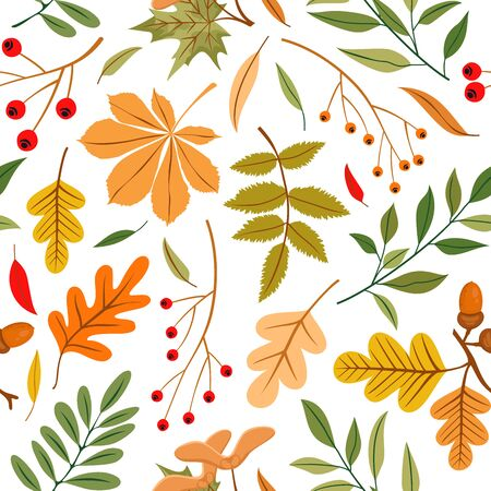 Vector seamless pattern of autumn leaves, branches and berries. Background for textile or book covers, manufacturing, wallpapers, print, gift wrap and scrapbooking