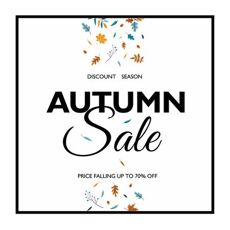 Save Download Preview Hello Autumn Sale text poster of leaf fall or autumnal foliage of maple, oak acorn and elm for shopping sale design or promo poster and frame leaflet or web banner