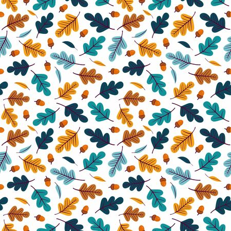 Seamless pattern with colorful acorns and oak leaves.