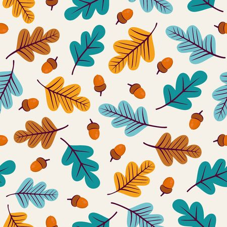 Seamless pattern with acorns and autumn oak leaves in Orange, Beige, Brown and Yellow.