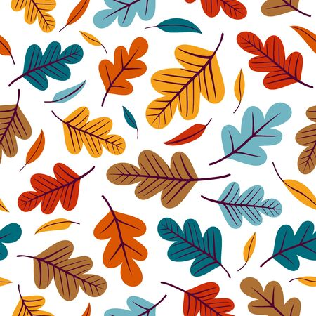 Seamless pattern with colorful leaves. 向量圖像