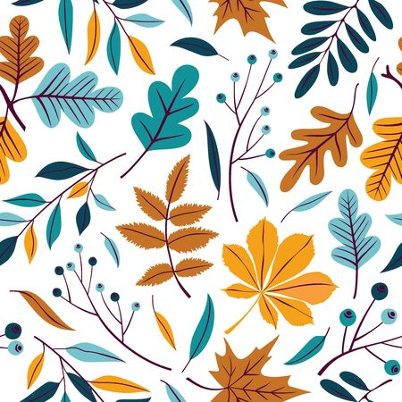 Vector seamless pattern of autumn leaves, branches and berries.