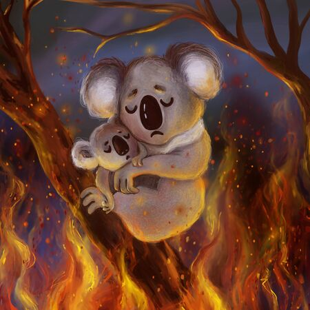 Cute scared koala with a baby koala trying to escape from the burning forest fires in Australia. Pray for Australia save the forest cartoon illustration.
