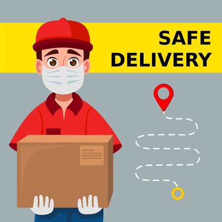 Delivery man holding cardboard boxes in medical rubber gloves and mask. Fast and safe Delivery transport. Portrait from the waist up. Online shopping and Express delivery. Quarantine