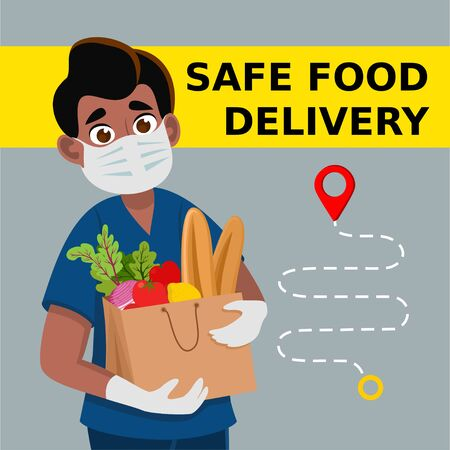 Safe food delivery. Delivery of goods during the prevention of coronovirus, Covid-19. Delivery man holds fresh food in medical rubber gloves and mask. Express delivery, food delivery, online shopping concept