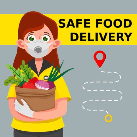 Safe food delivery. Delivery of goods during the prevention of coronovirus, Covid-19. Delivery woman holds fresh food in medical rubber gloves and mask. Express delivery, food delivery, online shopping concept