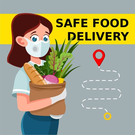 Safe food delivery. Young courier girl delivering grocery order to the home of customer with mask and gloves during the coronavirus pandemic. Vector cartoon illustration Ilustrace