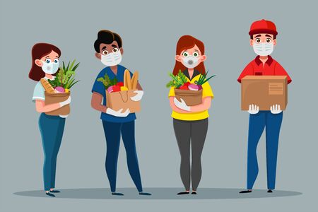 Courier people with food, box, package. Delivery service cartoon concept the prevention of coronovirus, Covid-19. Man and woman holds fresh food in medical rubber gloves and mask 向量圖像
