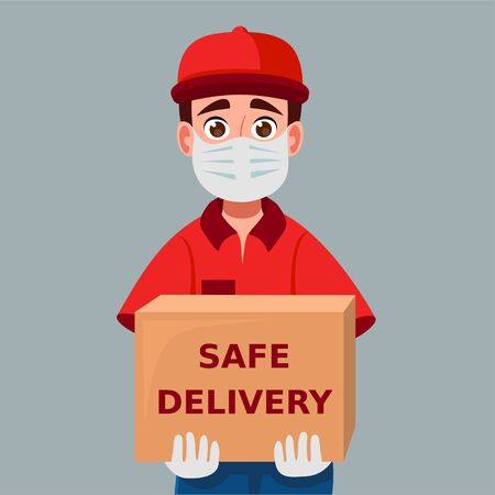 Delivery man holding cardboard boxes in medical rubber gloves and mask. Fast and safe Delivery transport. Portrait from the waist up. Online shopping and Express delivery. Quarantine 版權商用圖片 - 148513405
