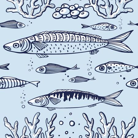Seamless pattern with fish, corals, marine plants and seaweed. Vintage hand drawn vector illustration marine life. Design for summer beach, decorations, print, pattern fill, web surface