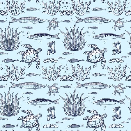 Seamless pattern with fish, turtle, corals, marine plants and seaweed. Vintage hand drawn vector illustration marine life. Design for summer beach, decorations, print, pattern fill, web surface 向量圖像