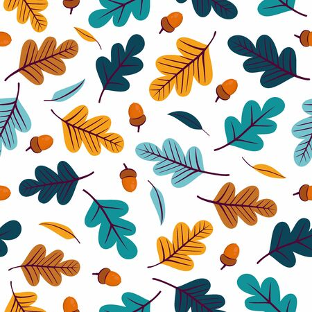 Seamless pattern with colorful acorns and oak leaves. Perfect for wallpaper, gift paper, pattern fills, textile, web page background, greeting cards.