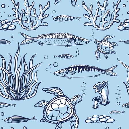 Seamless pattern with fish, turtle, corals, marine plants and seaweed. Vintage hand drawn vector illustration marine life. Design for summer beach, decorations, print, pattern fill, web surface Ilustrace