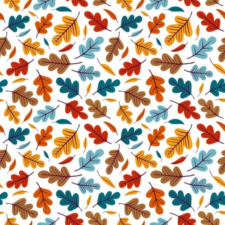 Seamless pattern with colorful leaves. Perfect for wallpaper, gift paper, pattern fills, textile, web page background, greeting cards.
