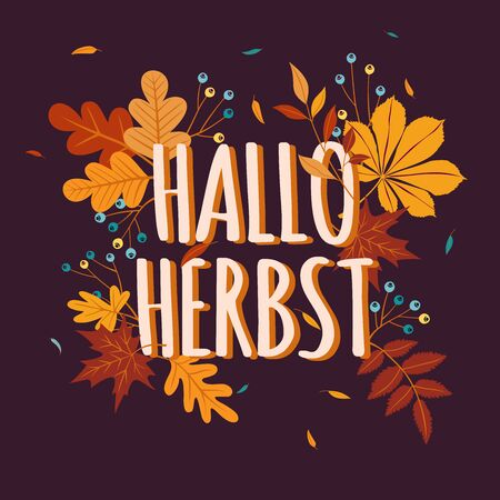 Hello Autumn background in German language with fall leaves. Nature autumnal vector concept. Orange and yellow leaf seasonal illustration Standard-Bild - 150360982