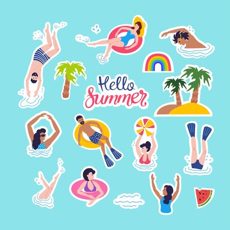 Summer patches collection. Illustration of funny summer symbols and icons with swimmers, rainbow, watermelon, palm trees, lettering `hello summer`. Isolated background.