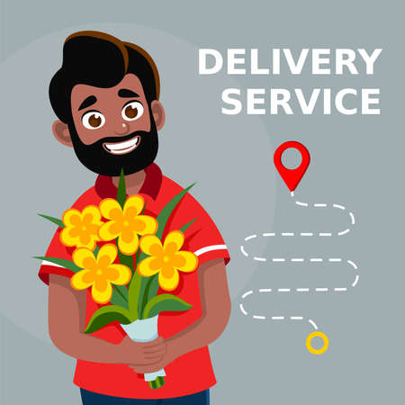 Smiling courier boy holding flowers bouquet. Delivery man truck with advertising design. Flowers delivery service. Flat cartoon vector illustration