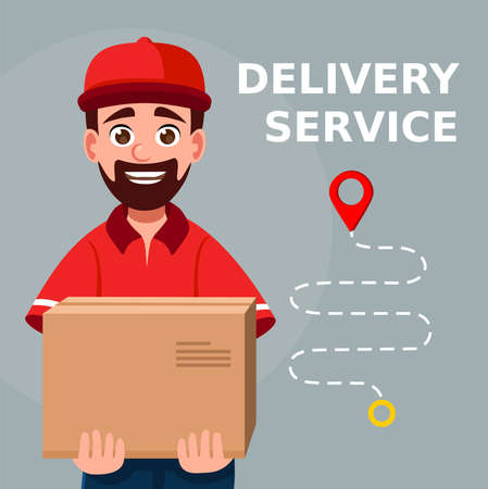 Delivery man holding a cardboard box. Fast and safe Delivery transport. Portrait from the waist up. Online shopping and Express delivery Ilustrace