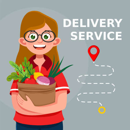 Delivery food service. Young courier girl delivering bio food in the paper recycling packaging to the home of customer. Cartoon illustration 向量圖像