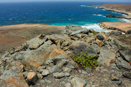 Nice view of some Arubas shore on a nice and sunny day. Stock Photo