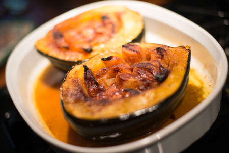 Acorn squash filled with apples and baked