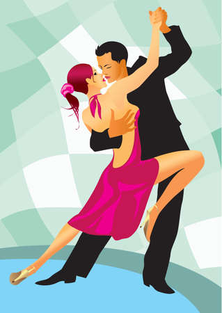 ballroom dancing: couple participates in competitions in sport dancing - vector illustration