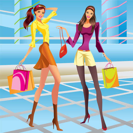 glamour shopping: Fashion shopping girls in a mall - vector illustration