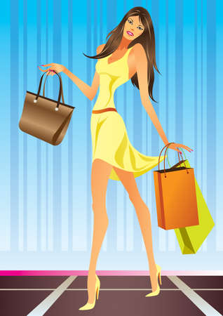 Fashion Shopping Girl with bags - vector illustration Vector