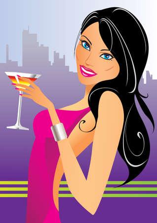 Hermosa mujer con cócteles en el club - ilustración vectorial
