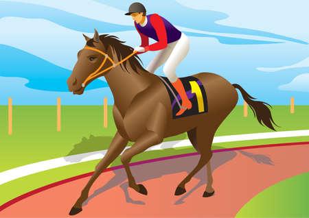 corse di cavalli: Fantino cavalcare un cavallo marrone - illustrazione vettoriale
