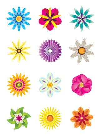 fairy garden: Abstract flower icons - vector illustration