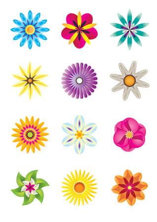 papillon rose: Icônes de fleurs abstraites - illustration vectorielle
