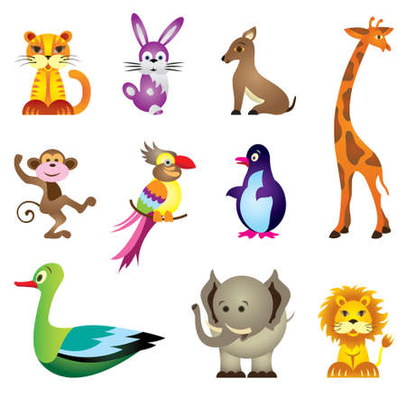 Wild animals toys - vector illustration Vector