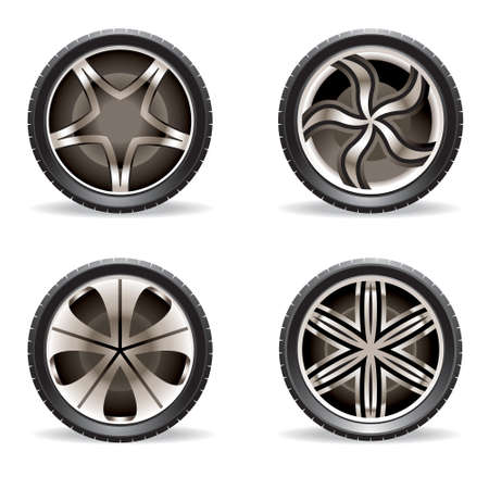 car tuning: Aluminum rims set - vector illustration