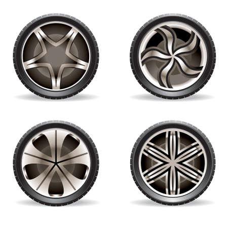 aluminum wheels: Conjunto de llantas de aluminio - ilustraci�n vectorial