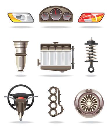 Piezas de coche - ilustración vectorial