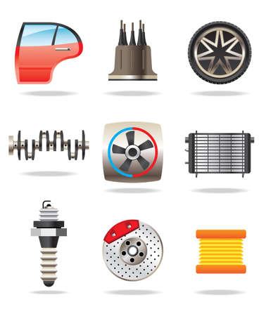 radiador: Piezas de autom�viles y los s�mbolos - ilustraci�n vectorial