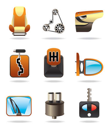 car tuning:  Car parts icon set - vector illustration Illustration