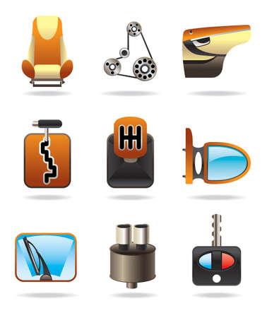 Auto parts icon set - illustrazione vettoriale