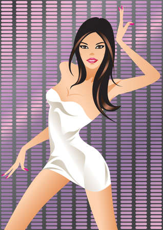 model posing: Dancing girl on the light display Illustration